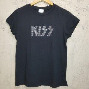 KISS Band Tee with silver rhinestones Sz L